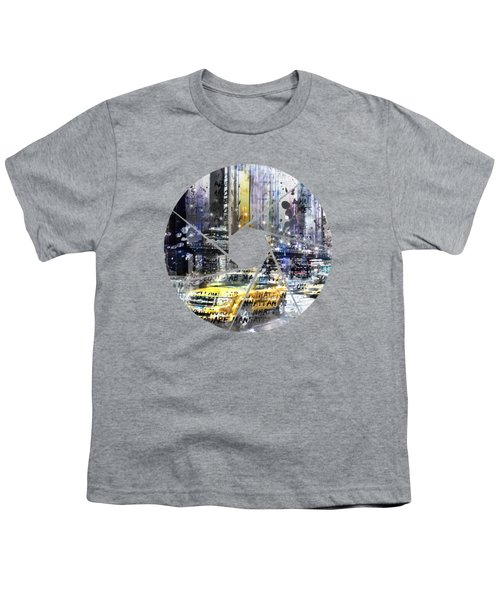 Graphic Art New York City Taxis And Manhattan Skyline Youth T-Shirt by Melanie Viola