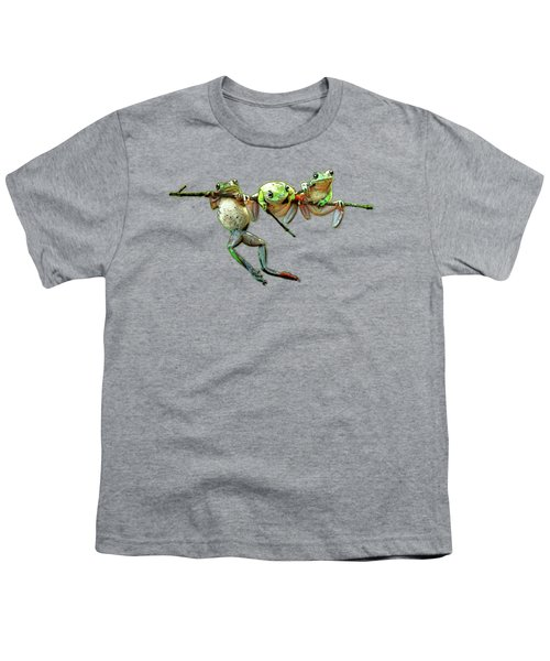 Hang In There Froggies Youth T-Shirt by Elaine Plesser
