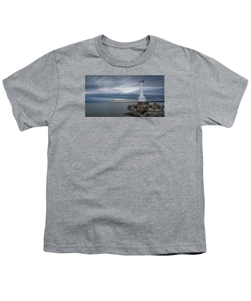 Huron Harbor Lighthouse Youth T-Shirt by James Dean