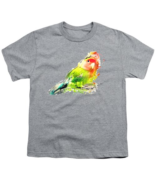Lovebird Watercolor Painting Youth T-Shirt by Justyna JBJart