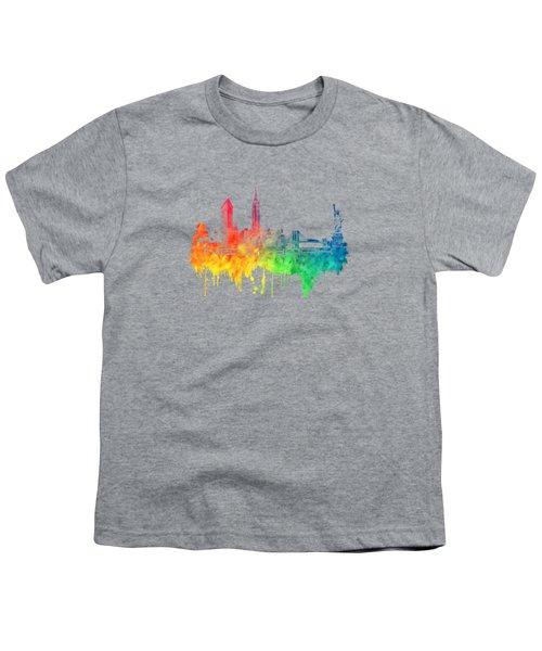 New York City Skyline Color Youth T-Shirt by Justyna JBJart