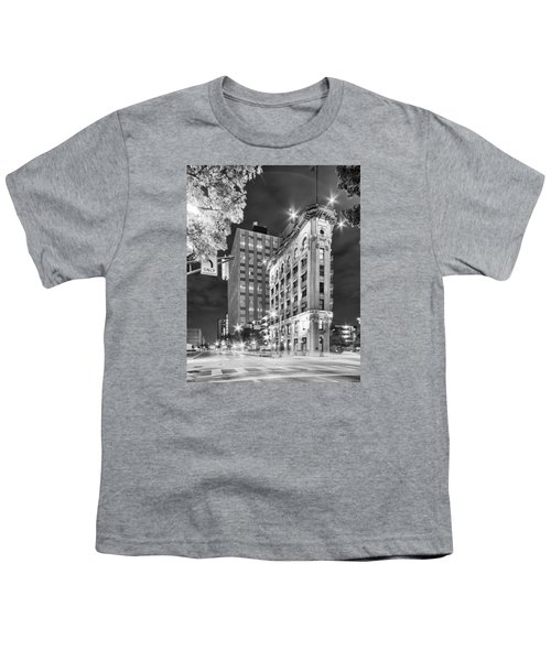 Night Photograph Of The Flatiron Or Saunders Triangle Building - Downtown Fort Worth - Texas Youth T-Shirt by Silvio Ligutti