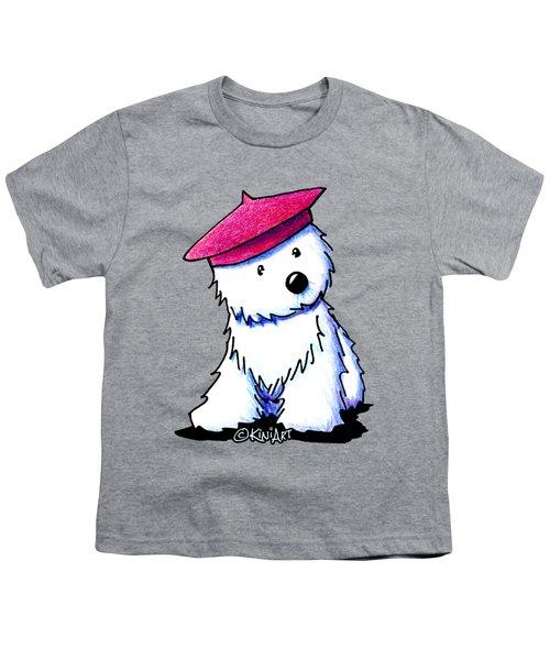 Raspberry Beret Westie Youth T-Shirt by Kim Niles