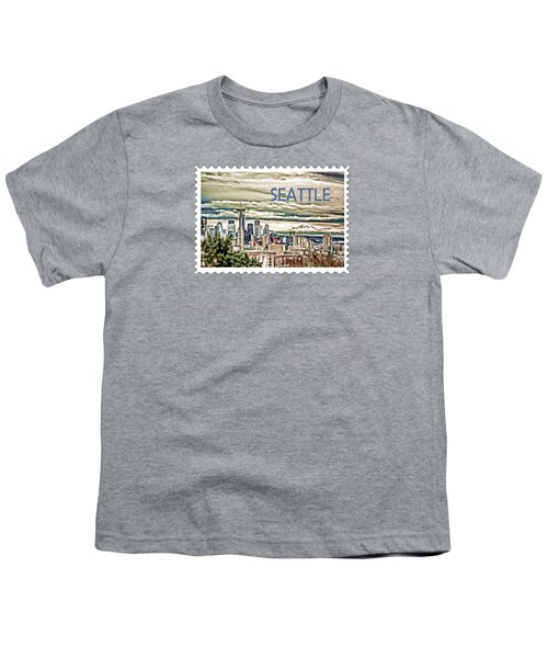 Seattle Skyline In Fog And Rain Text Seattle Youth T-Shirt by Elaine Plesser