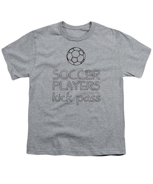 Soccer Players Kick Pass Poster Youth T-Shirt by Liesl Marelli