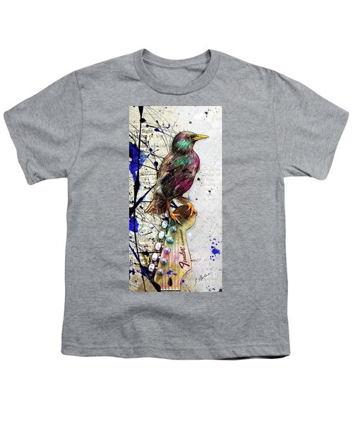 Starling On A Strat Youth T-Shirt by Gary Bodnar