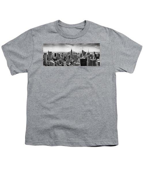 New York City Skyline Bw Youth T-Shirt by Az Jackson