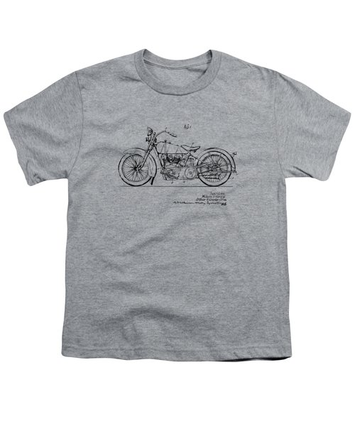 Vintage Harley-davidson Motorcycle 1928 Patent Artwork Youth T-Shirt by Nikki Smith