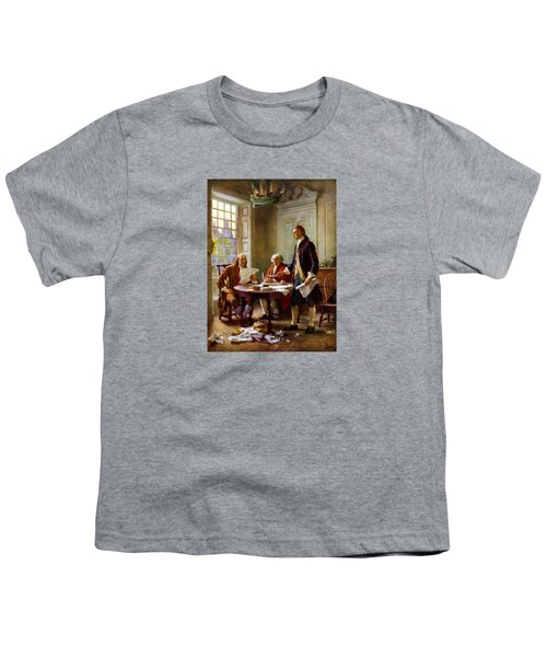 Writing The Declaration Of Independence Youth T-Shirt by War Is Hell Store