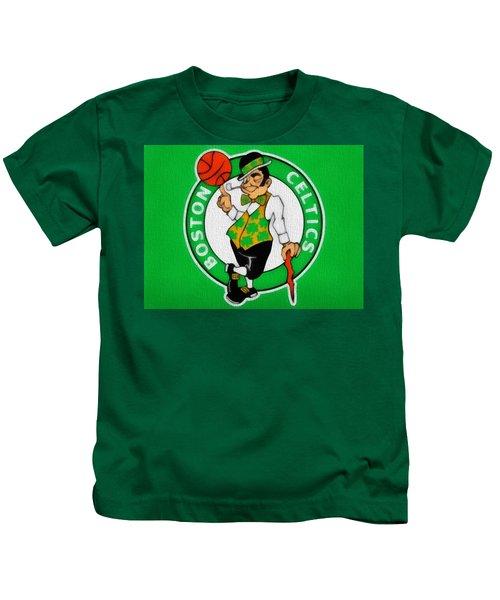 Boston Celtics Canvas Kids T-Shirt by Dan Sproul