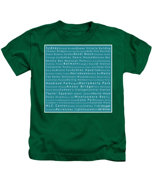 Sydney In Words Teal Kids T-Shirt by Sabine Jacobs