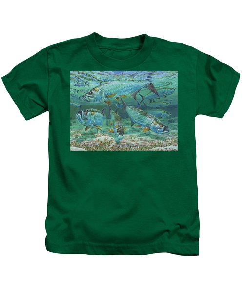Tarpon Rolling In0025 Kids T-Shirt by Carey Chen