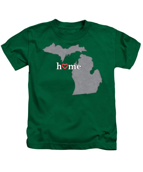 State Map Outline Michigan With Heart In Home Kids T-Shirt by Elaine Plesser