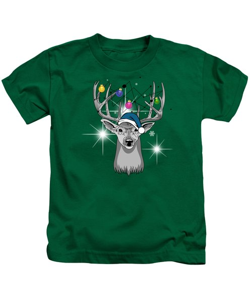 Christmas Deer Kids T-Shirt by Mark Ashkenazi