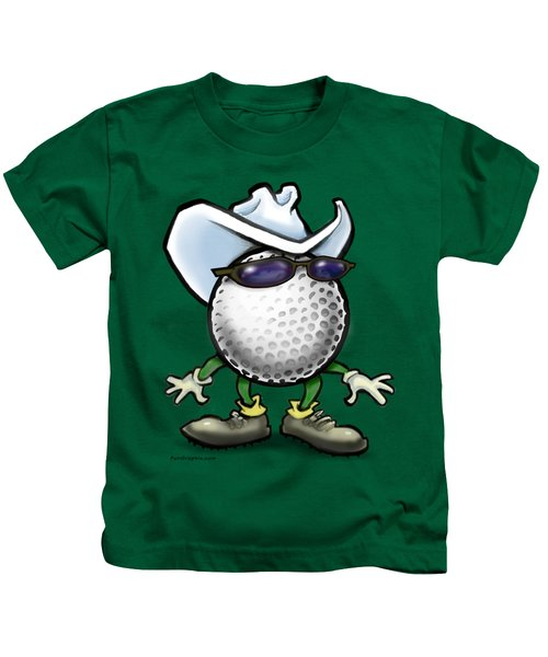 Golf Cowboy Kids T-Shirt by Kevin Middleton