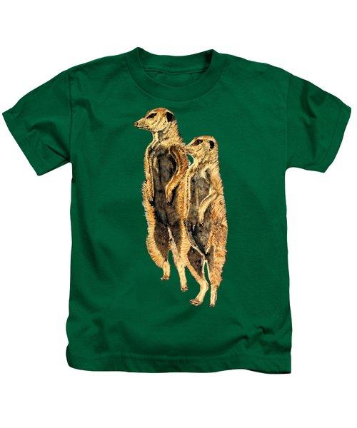 Meerkats Kids T-Shirt by Teresa  Peterson