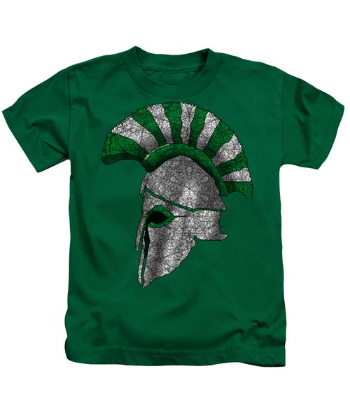 Spartan Helmet Kids T-Shirt by Dusty Conley