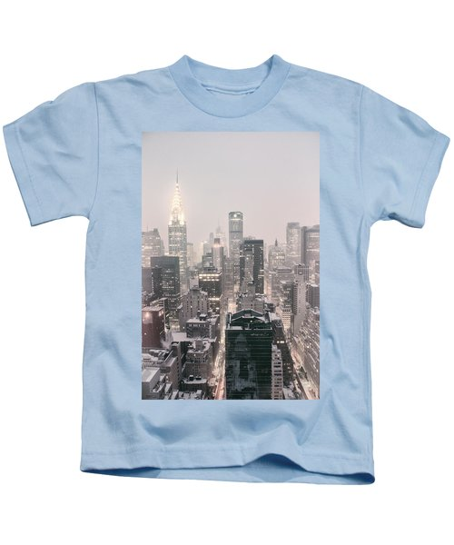 New York City - Snow Covered Skyline Kids T-Shirt by Vivienne Gucwa