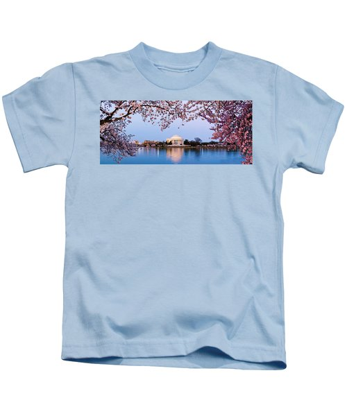 Cherry Blossom Tree With A Memorial Kids T-Shirt by Panoramic Images