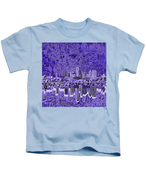 Austin Texas Skyline 4 Kids T-Shirt by Bekim Art