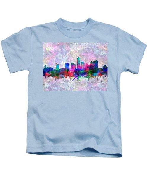 Austin Texas Skyline Watercolor 2 Kids T-Shirt by Bekim Art