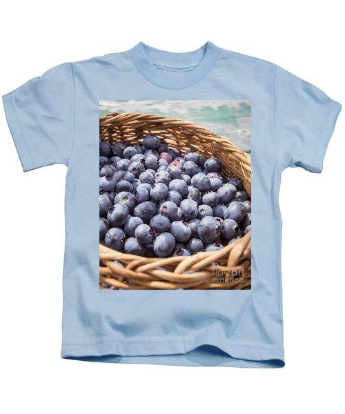 Basket Of Fresh Picked Blueberries Kids T-Shirt by Edward Fielding