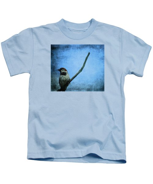 Sparrow On Blue Kids T-Shirt by Dan Sproul
