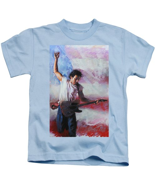 Bruce Springsteen The Boss Kids T-Shirt by Viola El