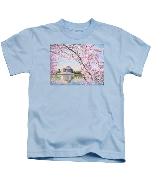 Jefferson Memorial Cherry Blossoms Kids T-Shirt by Patty Kay Hall