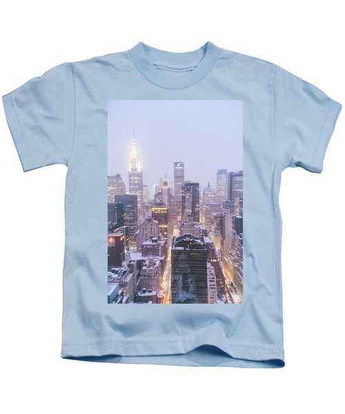 Chrysler Building And Skyscrapers Covered In Snow - New York City Kids T-Shirt by Vivienne Gucwa