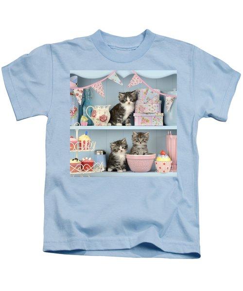 Baking Shelf Kittens Kids T-Shirt by Greg Cuddiford