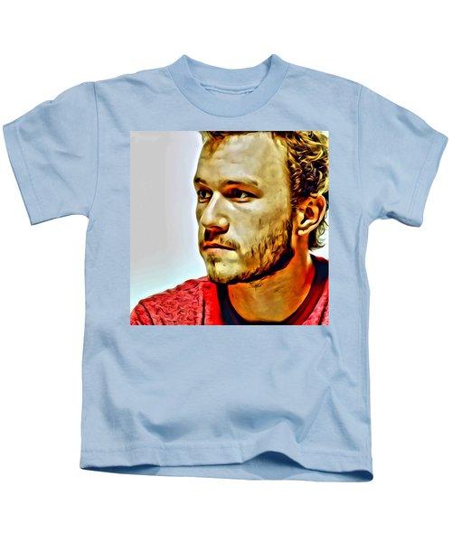 Heath Ledger Portrait Kids T-Shirt by Florian Rodarte
