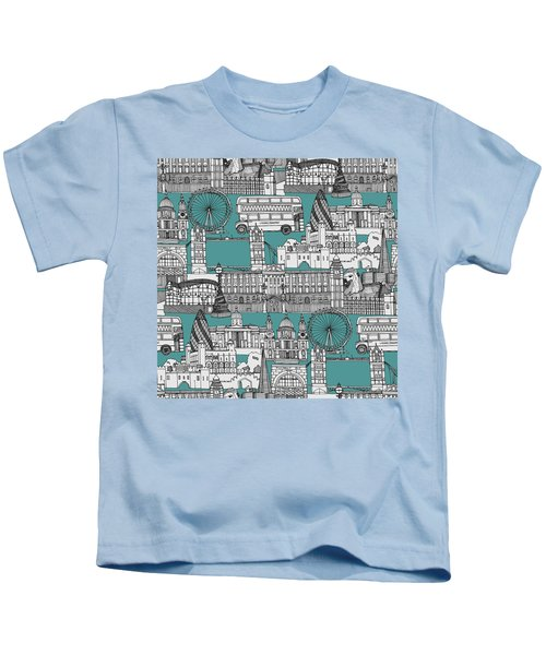 London Toile Blue Kids T-Shirt by Sharon Turner
