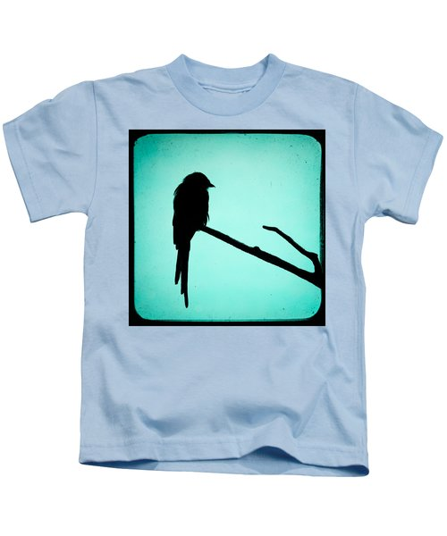Magpie Shrike Silhouette Kids T-Shirt by Gary Heller