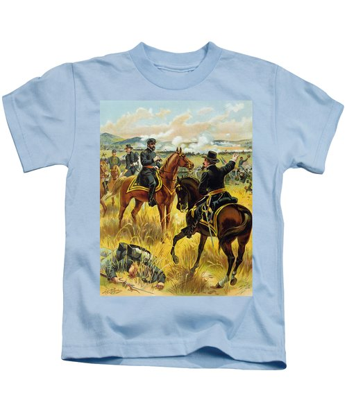 Major General George Meade At The Battle Of Gettysburg Kids T-Shirt by Henry Alexander Ogden