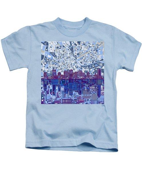 Nashville Skyline Abstract 8 Kids T-Shirt by Bekim Art