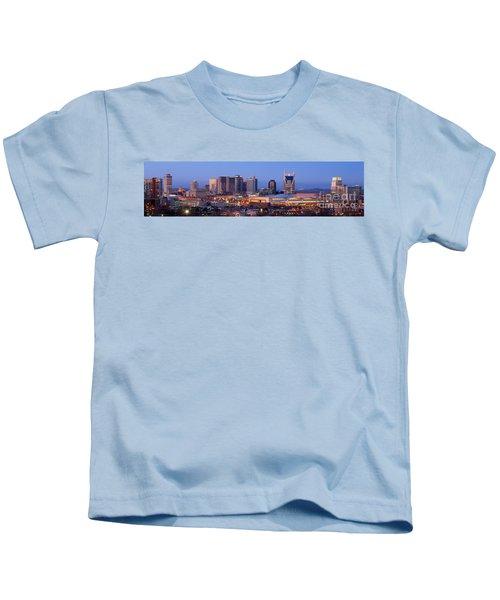 Nashville Skyline At Dusk Panorama Color Kids T-Shirt by Jon Holiday