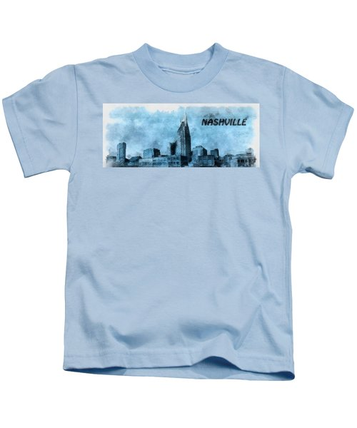 Nashville Tennessee In Blue Kids T-Shirt by Dan Sproul