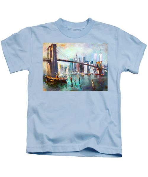 Ny City Brooklyn Bridge II Kids T-Shirt by Ylli Haruni