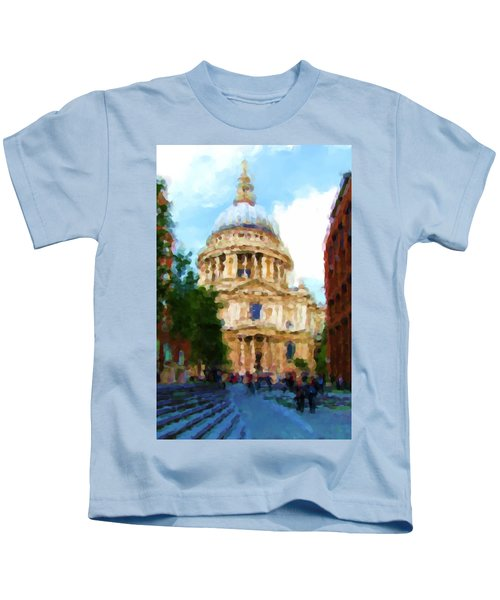 On The Steps Of Saint Pauls Kids T-Shirt by Jenny Armitage
