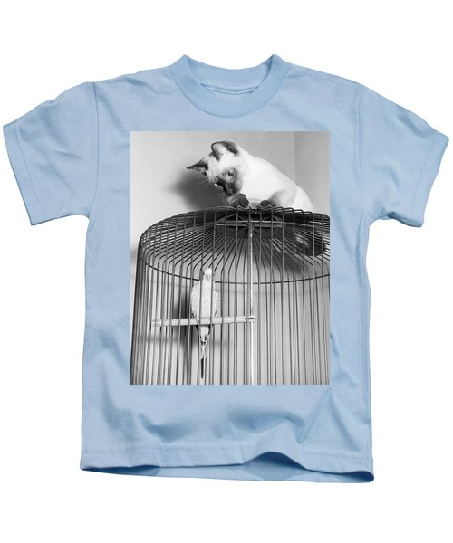 The Parakeet And The Cat Kids T-Shirt by Underwood Archives