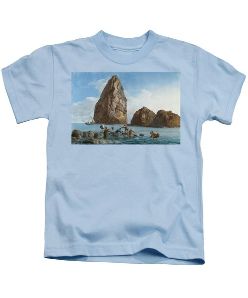 View Of The Rocks On The Third Island Of Cyclops Kids T-Shirt by Jean-Pierre-Louis-Laurent Houel