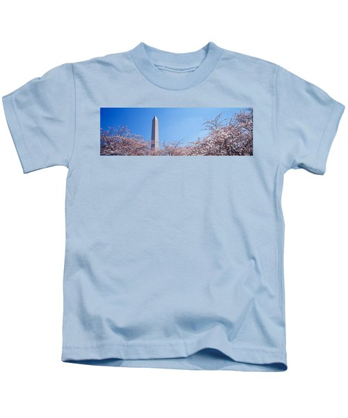 Washington Monument Behind Cherry Kids T-Shirt by Panoramic Images