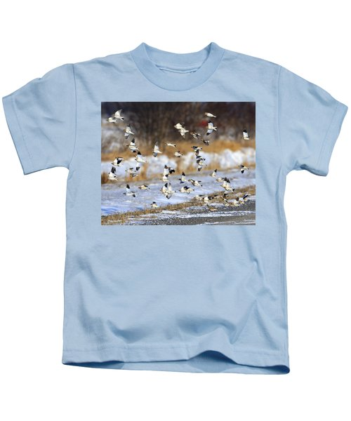 Snow Buntings Kids T-Shirt by Tony Beck