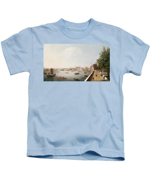 View Of The River Thames From The Adelphi Terrace  Kids T-Shirt by William James