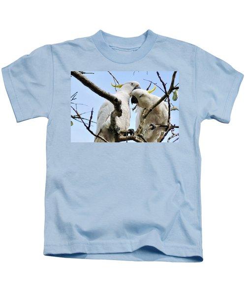 White Cockatoos Kids T-Shirt by Kaye Menner