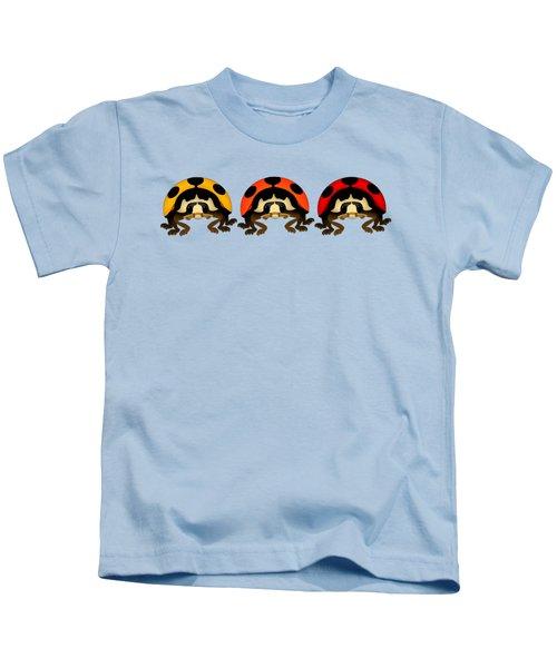 3 Bugs In A Row Kids T-Shirt by Sarah Greenwell