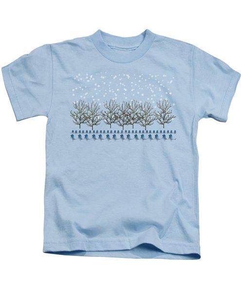 Winter Bluebirds In The Snow Kids T-Shirt by Anne Kitzman