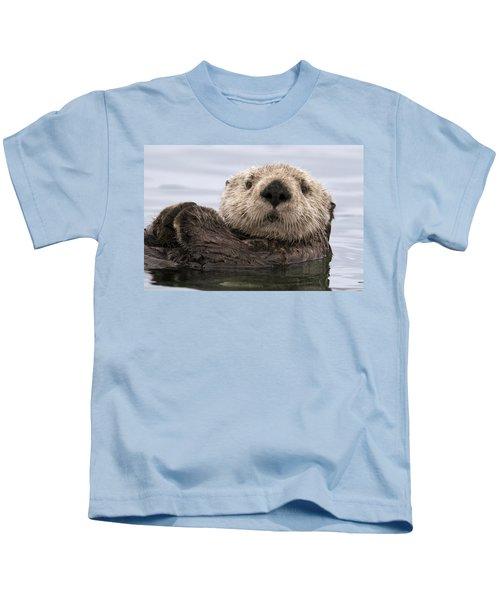 Sea Otter Elkhorn Slough Monterey Bay Kids T-Shirt by Sebastian Kennerknecht