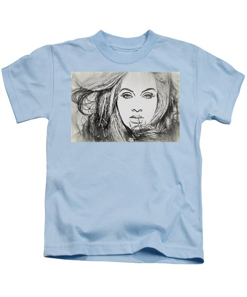 Adele Charcoal Sketch Kids T-Shirt by Dan Sproul